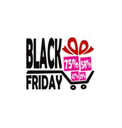 black friday discount gifts cart logo vector image