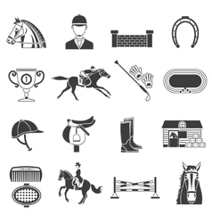 Black Icons Set With Horse Equipment vector image