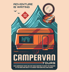Campervan and camping trailers tours retro poster vector