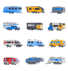 camping vehicles icon set vector image