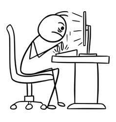 Cartoon of writter writting on computer fast and vector
