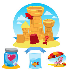 Castle of sand heart fish beach umbrella and vector