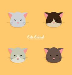 cat cartoon faces vector image