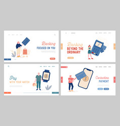 Characters online noncontact payment landing page vector