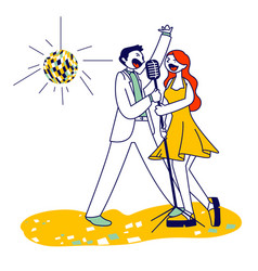 Cheerful couple singing song with microphones in vector
