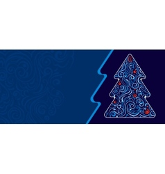 Christmas tree with frozen pattern vector
