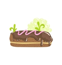 Classic Chocolate Eclair Sweet Pastry Fantasy vector
