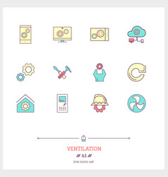 Color line icon set of ventilation engeneering vector