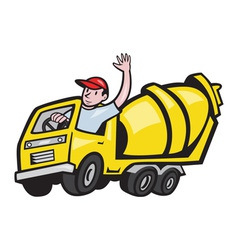 Construction Worker Driver Cement Mixer Truck vector image