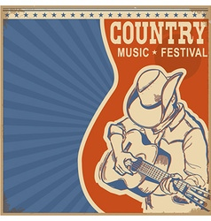 Country music background retro poster with man in vector