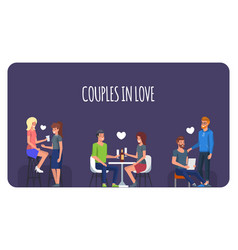 couples in love people in romantic date vector image