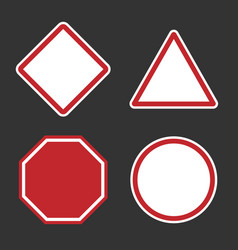 Danger or roadsign blank signs empty red caution vector