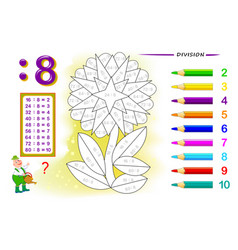 Division number 8 math exercises for kids vector