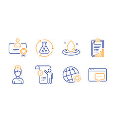 Doctor certificate and chemistry experiment icons vector