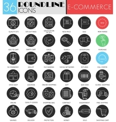 E-commerce circle white black icon set vector