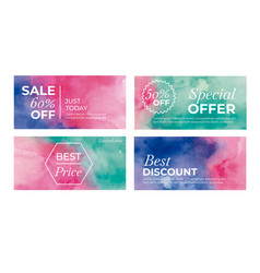 Elegant set banners for sale in watercolor vector