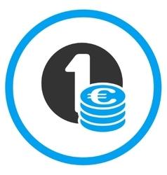 Euro coin column circled icon vector