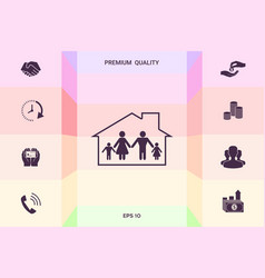 family home icon graphic elements for your vector image