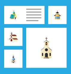 flat icon building set of religion catholic vector image