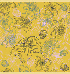 floral line flower pattern fabric sketch art vector image