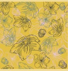 floral line flower pattern fabric sketch art vector image