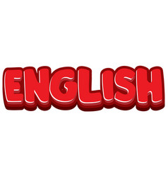 font design for word english in red color vector image