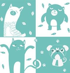 four animal cute symbol vector image