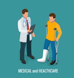 Fracture leg sprain or tearing leg vector