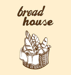 Fresh bread basket vector