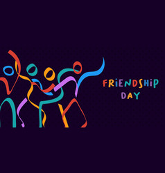 Friendship day card colorful stick figure friends vector
