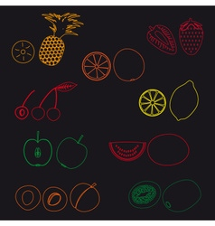 Fruits and half fruits simple outline icons eps10 vector