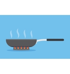 Frying pan on fire vector