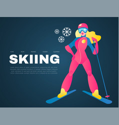 Girl skiing alpine sport design template with vector
