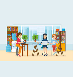 Girls working at computer with office interior vector