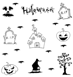 Halloween castle bat pumpkins tomb vector image