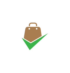 handbag a briefcases shopping check mark vector image