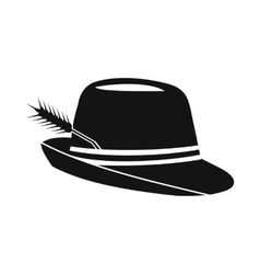 Hat with a feather icon simple style vector image