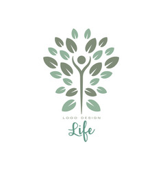 healthy life logo with abstract human figure and vector image