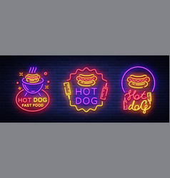 Hot dog collection neon signs hot dog set vector