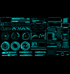 hud virtual futuristic elements set green object vector image