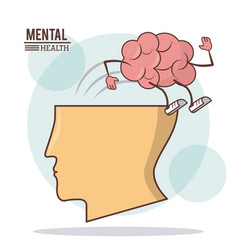 Human head brain mental health with brain vector