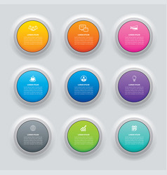 Infographics circle button with 9 data template vector