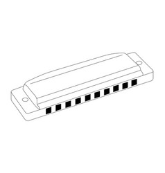 Isolated harmonica outline vector