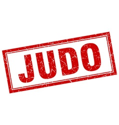 judo red grunge square stamp on white vector image
