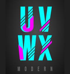 Letter font modern design set of letters u v w vector