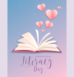 Literacy day poster design with open book vector