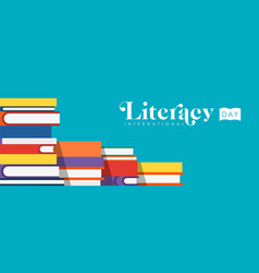 Literacy day web banner of children school books vector