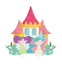little fairies princess with wings crown castle vector image