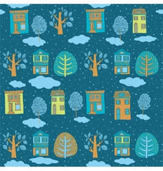 Little town in winter seamless background vector image