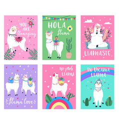 llama cute poster alpaca greeting cards vector image